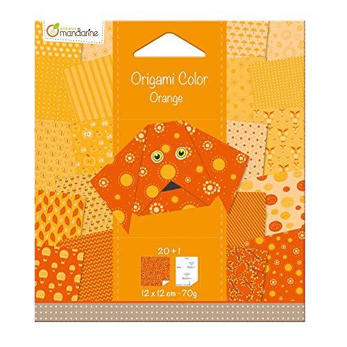 Avenue Mandarine 42681O Origami color Papier (quadratisch, 12 x 12 cm, mit Faltanleitung, 20 verschiedenen Blätter) orange