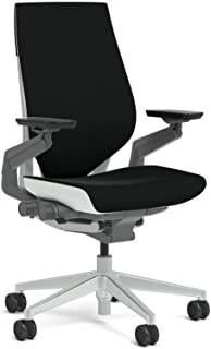 Steelcase Gesture Task Chair: Wrapped Back - Platinum Metallic Frame/Base/Seagull Accent - Roll Control Hard Floor Casters