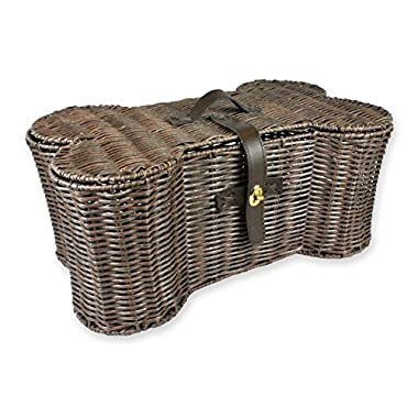 Bone Dry DII Medium Wicker-Like Bone Shape Storage Basket, 21x13x8, Pet Organizer Bin for Home Décor, Pet Toy, Blankets, Leashes and Food
