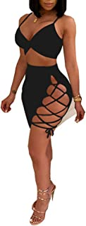 Women's Sleeveless Sexy Club Party Bandage Dresses Spaghetti Strap Two Piece Clubwear Crop Top + Lace Up Skirt