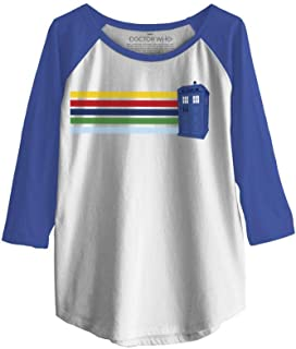 Doctor Who Womens Retro Tardis Travel Light Weight Raglan
