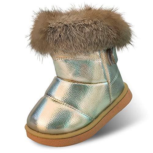 Botas de Nieve para Niños Niña Invierno Calentar Botines Impermeable PU Algodón Niños Botas Anti-Deslizante Zapatos para Bebé Gold 21 ⭐
