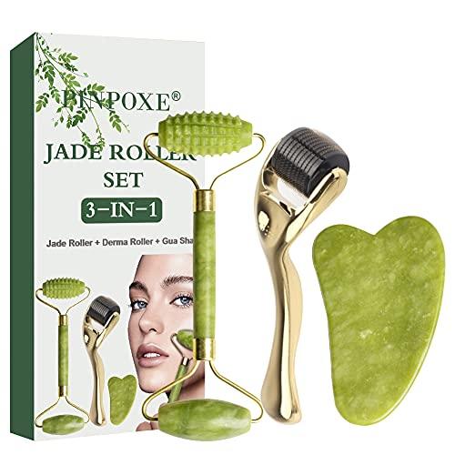 Jade Roller,Rullo di Giada, 3 in 1 Rullo per trattamento pelle del viso con microaghi, massaggiatore viso per antirughe, snellente e rassodante.