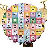 Humor Decoración Decorativa Mesa redonda Set De Internet Cartoon Meme Divertido Gesto Facial Emoción Iconos Ilustración Digital Celebración Festival Multi Diámetro 71 Pulgadas