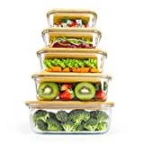 Glass Food Storage Containers With Bamboo Lids, Eco-Friendly Meal Containers, PLANET AVENUE, 5-Piece Set, Meal Prep Glass Containers, Microwave Dishwasher Oven Safe