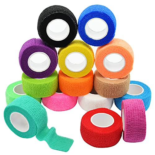 FEILIBAY 15 Pack Cohesive Wrap 1 Inch x 5 Yards Self Adherent Vet Tape for Pets, Elastic Self Adhesive Bandage Wrap for Sports, Finger, Wrist, Ankle (1 Inch, 15 Colors)