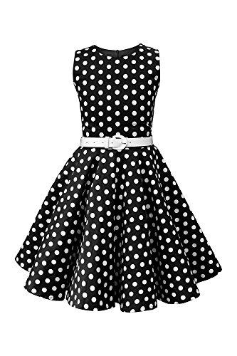 BlackButterfly Niñas 'Audrey' Vestido de Lunares Vintage Años 50 (Negro, 9-10 años)