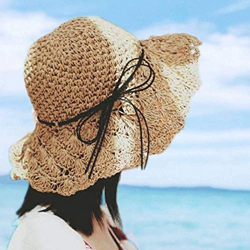 DLYGH SunHat Sun Hat For Women Khaki Bowknot Rafia Straw Hat Folded Summer Hat Wide Roundabout Beach Hat Women Holiday Upf50+