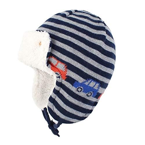 QQSA Cotton Jacquard Kinder Wollmütze Tier Patterned Thick Earflap Kinder Cap Ohr Schutz Winter-Baby-Hüte (Color : Car, Size : 2 4 Years)