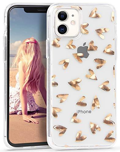 Imikoko Hülle für iPhone 11 Glitzer Marmor Weich Silikon Handyhülle Stein Marble Schlank TPU Bumper Handytasche Flexible Schutzhülle Soft Back Cover Gummi Dünn (Kleines Herz)