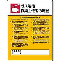 ユニット 作業主任者職務表示板 ビス止めタイプ エコユニボード 600×450×1.2mm厚 808-9 「ガス溶接(アセチレン) 作業主任者の職務」