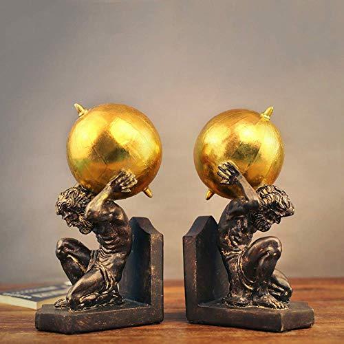Wghz Griechischer Herkules Gott Buchstützen Innen Dekor Figuren, Atlas Titan Statuen, Harz Skulpturen Schreibtisch Dekor für Office Home 2-teilige Bronze