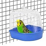 MJTCHE19 Bañera de Loro Caja de Ducha para Pájaros Bañera de Aves Baño para PáJaros Baño Acrílico para Pájaros Accesorios para Bañera para Canarios Pájaros Pequeños Loros Cresta Myna 1 Pieza