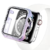 Yolovie Compatible for Apple Watch Case with Screen Protector 44mm for SE Series 6 5 4, Bling Cover Diamonds Rhinestone Bumper Protective Frame for iWatch Girl Women (44mm ClearColorful)