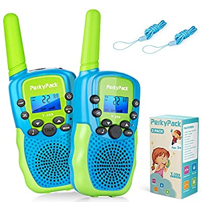 Best Birthday Gift Kids Toys for 3 4 5 6 7 8-12 Year Old Boys Girls- Kids Walkie Talkies 2 Pack- Long Range 3KM 22 Channels 2 Way Radio with Flashlight- Toys for Indoor Games, Outdoor Camping, Hiking from PerkyPack