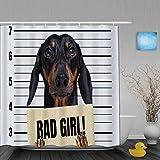 AIKIBELL Personalisierter Duschvorhang,H& Dackel hält EIN Banner der Polizeiabteilung böses Mädchen im Polizeibüro,wasserabweisender Badvorhang für das Badezimmer 180 x 210 cm