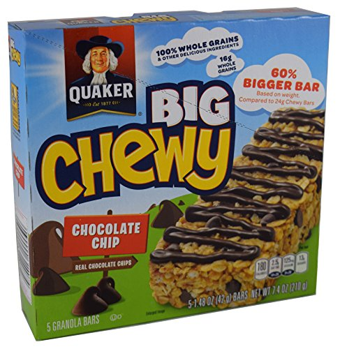 Quaker, Big Chewy, Chocolate Chip Granola Bars, 5 Count, 7.4oz Box (Pack of 6)