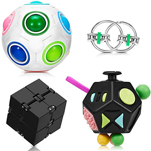 4 Pieces Fidget Toy Set Handheld Mini Fidget Toy Stress Reducer Anxiety Relieve Handheld Toy Include 12-Side Fidget Toy, Black Infinity Cube, Rainbow Puzzle Ball and Flippy Key Chain for Teens Adults