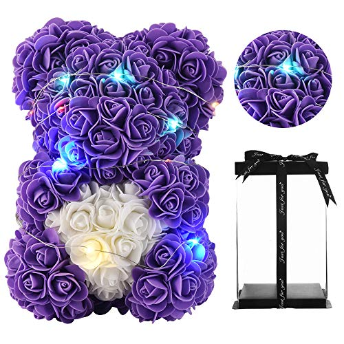Gifts for Women,Rose Teddy Bear- Over 300 Flowers on Every Rose Flower Bear,Rose Bear, Gifts for mom, Birthday Gifts, Gifts for Girls - 10 inch Clear Gift Box (Purple)