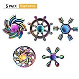 SCIONE Fidget Spinner Metal 5 Pack Stainless Steel Bearing 3-5 Min...