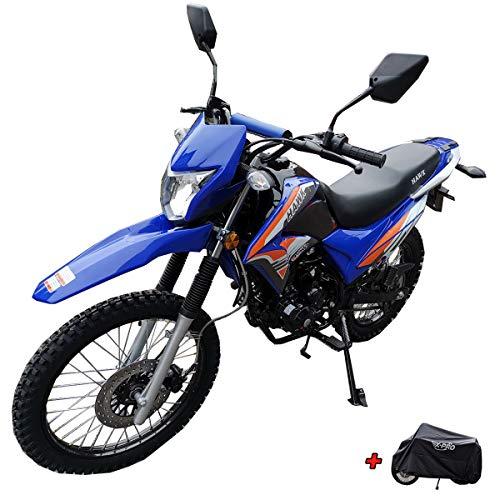 X-Pro 2020 Version Hawk 250 Dirt Bike Motorcycle Bike Dirt Bike Enduro Street Bike Motorcycle Bike with Motorcycle Cover(Blue)