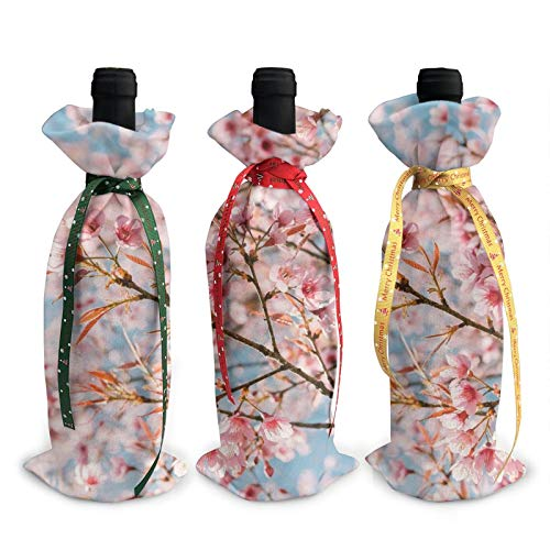 3pcs Christmas Wine Bottle Cover 3d Cherry Blossom Spring Coming Wines Bottles Decoration Bags For Xmas New Year Party Birthday Dinner