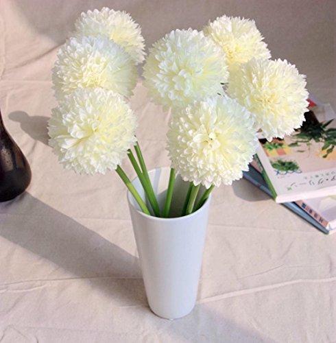 Longra Wohnaccessoires & Deko Kunstblumen 5pcs Lavendel Ball künstliche Seide Blumen Blumenstrauß Home Hochzeit Party Dekoration Künstliche Fake Blume (White)