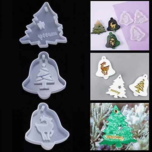 Stampo in resina di silicone per albero di Natale, con ciondolo a forma di alce e alce, per decorazioni natalizie, confezione da 3