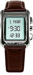 الساعة الكلاسيكية مع سير جلد طبيعي من الفجر للرجال/ دجيتال دبليو اس-06 إل اللون البني