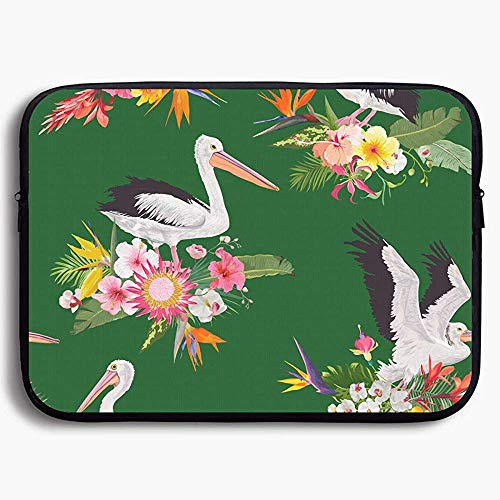 15 Inch laptop Case Sleeve Case Bag, Tropical Nature Seamless with Pelicans for Portable Carrying Protective Cover