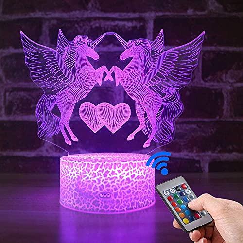 Luz de noche 3D de unicornio para niñas, regalo de cumpleaños, 16 colores cambiantes, control remoto LED para decoración de habitación de niños, lámpara de ilusión LED 3D con cargador..