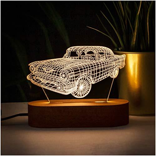 3D-Nachtlicht in Form eines Autos. 3D Illusion Nachtlampe mit coolem Auto-Design Acryl Schreibtischlampe Geschenk für Oldtimer Liebhaber LED-Tischlampe mit klassischer Auto-Form.