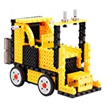 Kids Tech 4-in-1 DIY RC Construction Vehicle Kit - Remote Controlled, Forklift, Dump Truck,Train, Duck, Skier, Crane & Road Roller, 240 Building Blocks, Wireless Remote Control, Yellow