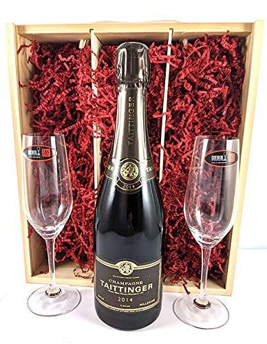Taittinger Brut Millésimé Vintage Champagne 2014 with Two Riedel Crystal Champagne Flutes in einer Geschenkbox, da zu 4 Weinaccessoires