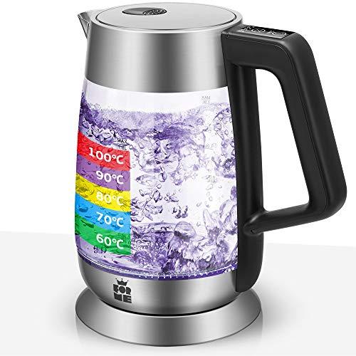 ForMe Hervidor Eléctrico de Vidrio Agua 1,8 I Ajuste Temperatura Regulable 60-100ºC...