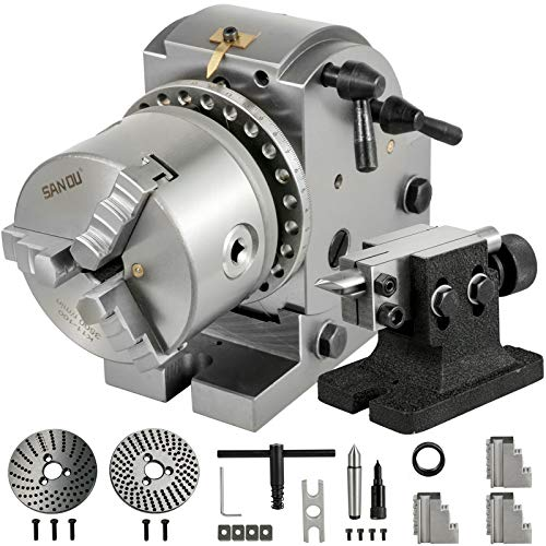 Frantools Teilapparat Rundtisch 100MM BS0 Teilkopf mit 3 Backenfutter schwenkbar horizontal vertikal für Fräsmaschine