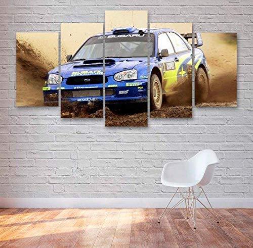 UYTRE 5 Parti XXL Cuadros Decoracion Salon -Coche de Rally Subaru WRX 5 Piezas Material Tejido no Tejido Impresión Artística Imagen Decoracion de Pared Cuadro - Total: (H-80 cm x M/B-150 cm)