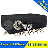 9. SARCCH Patio Furniture Cover, Outdoor Sectional Furniture Set Covers, Table Chair Sofa Covers,Durable and Convenient, Waterproof Snow Dust Wind Proof,Anti-UV Fits to 6-8 Seat (83''x52''x29'')
