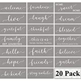 Family Farmhouse Stencils for Painting on Wood - 20 Pack Large Inspirational Words Quotes Saying Sign Stencil Templates, Welcome Believe Blessed Thankful and More, Reusable Letter Stencils for Walls