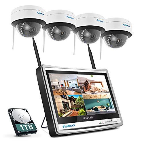 防犯カメラ ワイヤレス 屋外 室内 300万高画素 1536P 12インチモニター付き IPS液晶パネル 録音可能 1TB HDD内蔵 H.264+圧縮技術 4台 増設可能 防犯・監視カメラ 配線工事不要 無線 防水防塵 ドーム型カメラ wifi 暗視機能 逆光補正 夜間監視 遠隔監視 動体検知 アラーム警報 写真通知 簡単接続 windows/ios/Android対応 日本語マニュアル