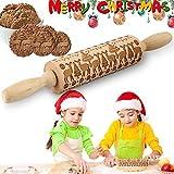 Navidad Rodillo Amasar, Rolling Pin Wood, Perno de Balanceo, Rodillo de Cocina con Dibujos, Rodillo Amasar de Madera, Rodillo de Madera para Galletas, Grabado en Relieve