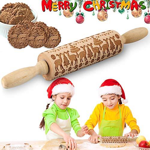 Motiv Nudelholz, Weihnachten Teigroller, Weihnachten Präge Nudelholz, 3D Holz Nudelholz mit Weihnachtsbaum Hirsch Schneeflocke Symbole, Teigrolle Muster PräGerolle, DIY Küchenhelfer