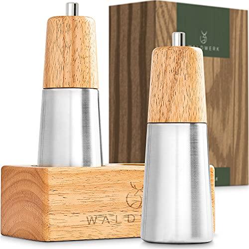 WALDWERK Design Salz und Pfeffermühle aus massivem Holz - Pfeffermühle und Salzmühle mit edler Halterung - plastikfreie Gewürzmühlen