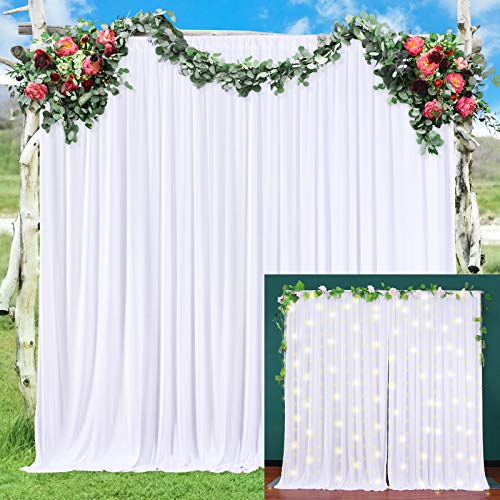 White Backdrop Curtain for Parties White Backdrop Drapes for Weddings Baby Shower Birthday Party Photo Videos Photography Wrinkle Free Backdrop 2 Panels 5ft x 7ft Polyester Fabric