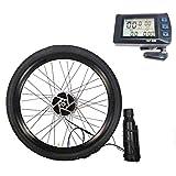 TIM-LI Kit De Conversión Impermeable para Bicicleta Eléctrica, Motor De Engranaje De Rueda De Radios Delanteros De 36 V / 250 W con Pantalla De Medidor Bluetooth Y Batería,V Brake,16