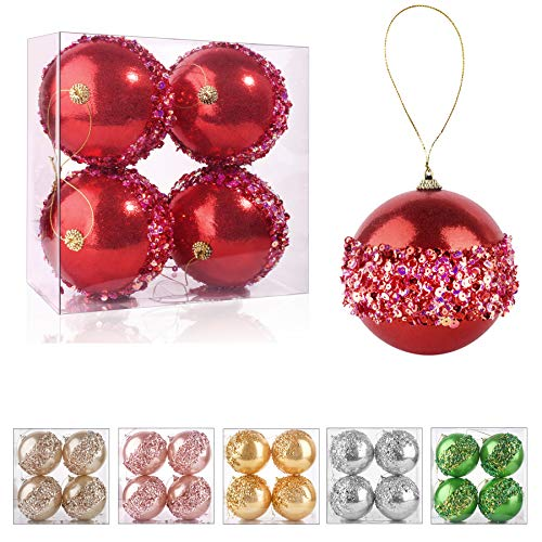 ZHANYIGY 4' Christmas Ball Ornaments, 4pc Set Red Shatterproof Christmas Decorations Tree Balls for Xmas Trees Wedding Party Holiday Decorations