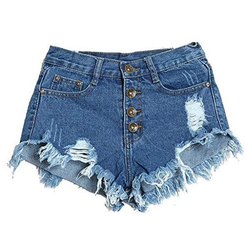 NPRADLA Damen Sommer Hot Pants Kurze Quaste Loch Vintage High Waist Button Cowboy Leggings Damen Jeans Denim Shorts