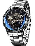Alienwork IK Orologio Automatico Uomo Donna argento Bracciale in Acciaio nero Scheletro