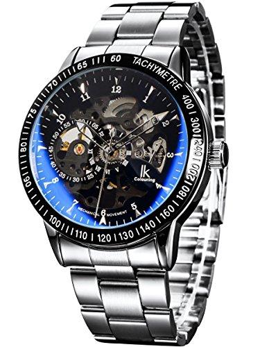 Alienwork IK Reloj Mecánico Automático Relojes Automáticos Hombre Mujer Acero Inoxidable Plata Analógicos Unisex Negro Impermeable Esqueleto