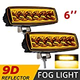 CO LIGHT Pair LED Fog Lights 6inch Yellow Driving Work Light Bar Spot Special Light Cup High Power Off Road Lights for Truck Jeep Tractor 4x4 Boat ATV SUV UTV Car